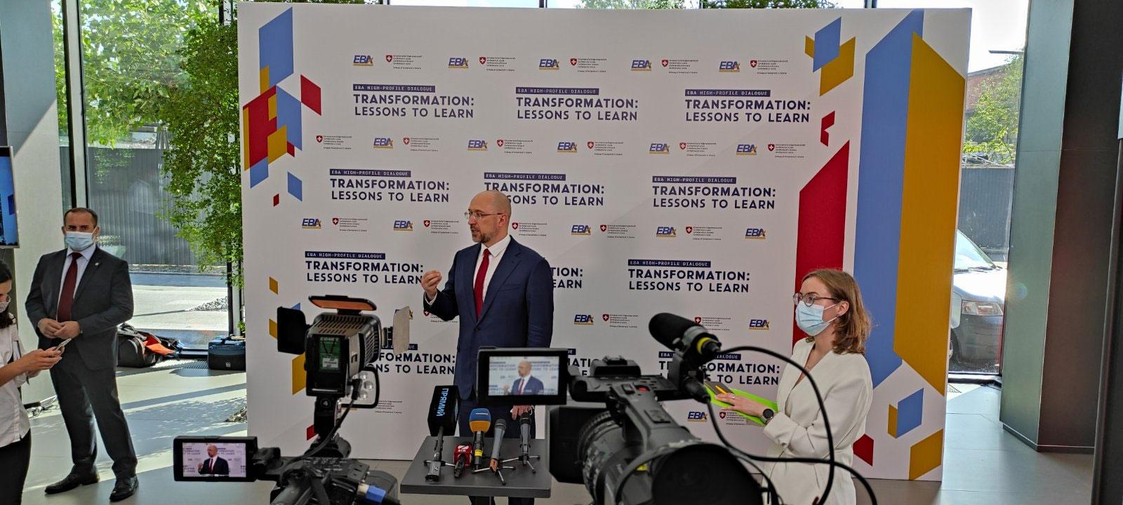 Оборудование для технической поддержки и организации синхронного перевода деловой встречи Премьер-министра Украины и президента Швейцарии в июле 2020 года, услуга или аренда. Киев, Украина. Компания Эквиптайм